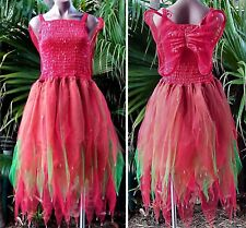 PLUS SIZE Fairy Dress Party Costume with Wings -  Red/Green