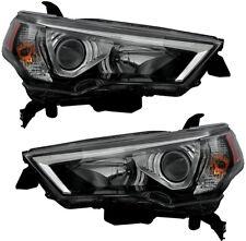 Halogen Headlight Headlights w/Bulb Black Pair Set for 2014-2018 Toyota 4Runner