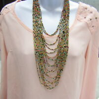 Vintage Sweater Necklace Multi Strand Seed Beads Bohemian Style Statement