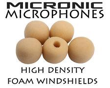 5 x 3mm/4mm BEIGE A ORECCHIO lavaliere per colletto MICROFONO IN SPUGNA VENTO