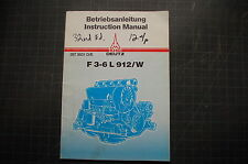 KHD DEUTZ F 3-6 L 912W Diesel Engine Operation Owner Manual book Operator shop