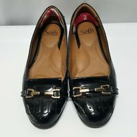 Womens SOFFT Black Patent Leather Gold Chains Loafers Flats Shoes SIZE 7 M