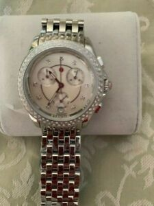 MICHELE Stainless Steel Watch & Strap w/ MOP Face & Diamond Bezel