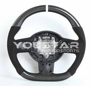 WHITE Line CARBON Suede Steering Wheel for MINI Cooper S R55 R56 R57 R60 Clubman