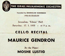 1953 MAURICE GENDRON Program CELLO RECITAL Bach BRAHMS Debussy RAVEL Milhaud  VR