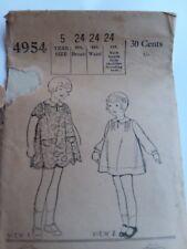 Antique sewing pattern- Little Girl's Dress---1925- # 4954