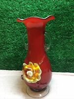 Vintage Murano Red Glass Vase With Yellow Flower Detail 9 Inch