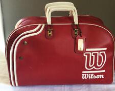 Vintage RED Wilson Tennis Gym Bag LARGE Duffle/Tote Retro Sport Striped