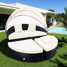 Outdoor Patio Sofa Furniture Round Retractable Canopy Daybed Wicker Rattan  Sunbe