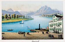 c1870 Schweiz Switzerland Schwyz Küssnacht Kolorierte Ansicht Dikenmann