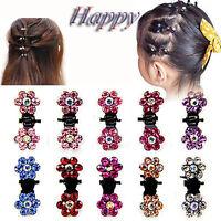 12x Fille Mini Pinces à Cheveux Fleur Strass Cristal Petites Pinces Cheveux Acce