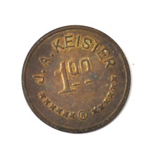JA Keister $1 One Dollar Trade Token 35mm Bronze Pat Jun 1909 Ingle System