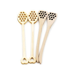 Wooden Hollow Honey Stir Spoons Coffee Milk Mixing Stick Healthy Dipper Kitchen
