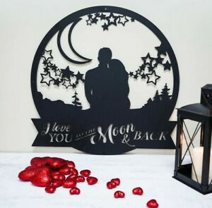 """Love You To The Moon and Back- Valentine's Day Metal Sign - Metal Art Sign 20"""""""