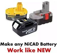Battery Fix Nicad Bosch Dewalt Makita Etc 24v 18v 14,4v 12v 9,6v 7,2v