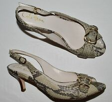 COLE HAAN AIR 7.5 B GRAY TAUPE SNAKE PRINT LEATHER SLINGBACK SANDALS