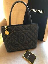 CHANEL Black Caviar Quilted Medallion Tote Bag Handbag Purse Dustbag card