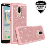 Alcatel 7 / REVVL 2 Plus Case Glitter Bling Tempered Glass Screen Protector Case