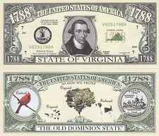 50 Virginia VA Patriotic Novelty Money Bills Lot