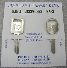 Very Rare Original JEEP Pentastar Nickel Keys 1990 - 1991 NOS New Old Stock