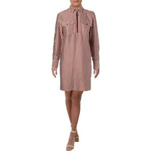 Kenneth Cole New York Womens Pink Striped Hi-Low Casual Shirtdress S BHFO 8501