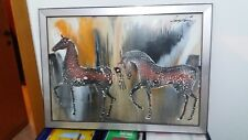 Sage Vernis( Gino Falzon) Quadro due cavalli del 1973 autenticato dall autore