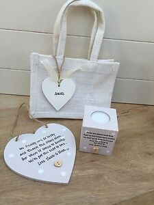Auntie Aunt Aunty Great Auntie PERSONALISED Candle & Heart Gift Set Shabby Chic