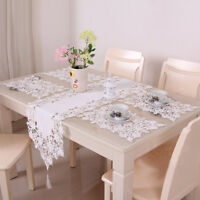 White Lace Embroidered Table Cloth Doily Mat Table Runner Dining Wedding Decor