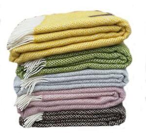 Honeycomb Beehive 100% Wool Bed Blanket Sofa Throw Picnic Travel Rug Made in UK