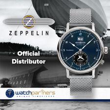 Zeppelin Nordstern Swiss Quartz Watch Blue/Black Dial BIG date Dual time 7540M-3