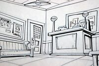 Walt Disney Artist Animation Background Layout Ink and Pencil POLICE STATION