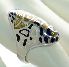 Flli Menegatti Solid 925 Sterling Silver Picasso Style Ring Sz-7 `