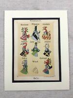 1886 Antique Print Heraldry Armorial Heraldic Family Crest German Nobility Arms