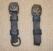 Genuine Antique Civil War Harness Straps With Heart Buckle Covers