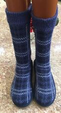 UGG Australia Girl's Blue Plaid Knit Crochet Sweater Boots Size 2 S/N 1963 EUC
