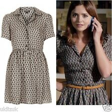Topshop Cosplay Alt Nude Beige Black Silky Piped Tile Print Shirt Dress  Size 6