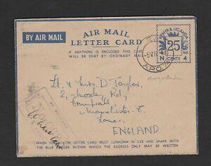 Kenya& Uganda 1943 stationery Air mail Letter card censor  / EA  APO 74