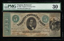 AFFORDABLE GENUINE VACR15 1862 $5 VIRGINIA TREASURY NOTE PMG GRADED 30 CIVIL WAR