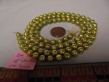 "Christmas Garland Mercury Glass, Chartreuse, 28"" Long 5/16"" Beads, Dn18, Vintage"
