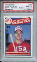 1985 Topps Baseball #401 Mark McGwire Team USA Rookie Card RC Graded PSA MINT 9