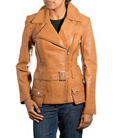 Ladies Light Brown Tan Leather Smart Quilted Belted Military Retro Jacket/Coat