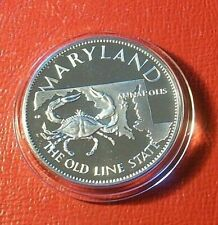 Maryland~Old Line State Art Round by Franklin Mint 1 Troy oz.925 Silver