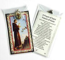 SAINT ST FRANCIS OF ASSISI PRAYER CARD & COLOUR MEDAL