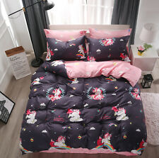 Kids Teens Cartoon Grey/Black Rainbow Unicorn Duvet Cover Bedding Sets All Size