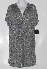 Apostrophe Sleepwear Ladies Chemise Caftan V-Neck Night-Gown Black & White M NWT