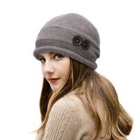Ladies Womens 100% Wool Knit Beanies Skull Beret Hats Slouchy Baggy Ski Cap T178
