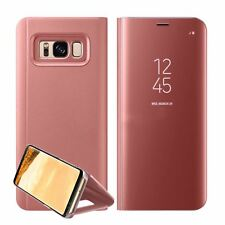 Luxury Mirror Smart Clear Flip Case Cover for Samsung Galaxy S7 Edge S8 Note 8 Samsung S8 Rose Gold