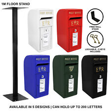Royal Mail Post Box Cast Iron Pillar ER Letter Wall Mount Postal Floor Stand