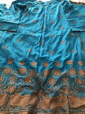 Torquise Blue Cotton Silk 3pc Shalwar Suit Thread Embroidered(new Lowe Price)