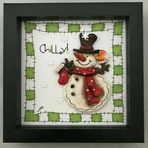 Christmas Gift Resin Picture Snowman Chilly! Green Border Stocking Filler